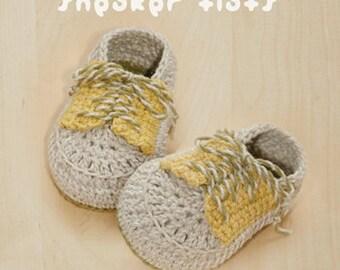 Sneaker Flats Baby Booties Preemie Socks Newborn Shoes Crochet Pattern (SF01-W-PAT)
