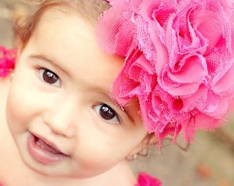 Baby Headband, Hot Pink Baby Headband, Big Flower Headband, Pink Lace Headband, Pink Baby Headband, Chiffon Headband