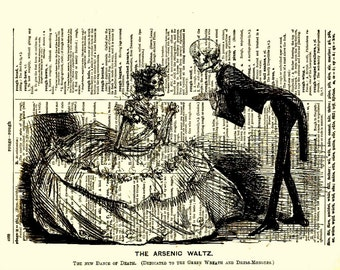 The Arsenic Waltz, Skeleton Couple, Dictionary Art Print, Mixed Media Collage, Dictionary Page