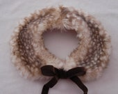 READY TO SHIP Handmade Custom Fawn Faux Fur Peter Pan Collar Velvet Bow Doe Deer Lolita Dolly Scarf Mori Girl