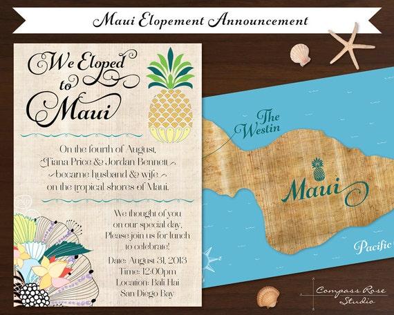 Elopement Wedding Invitations: Items Similar To Custom Wedding Map, Maui Wedding