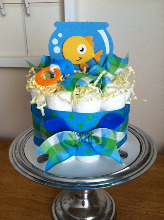 ON SALE - Blue, Green, Orange Goldfish Mini Diaper Cake - Baby Boy Shower Gift, Single Tier