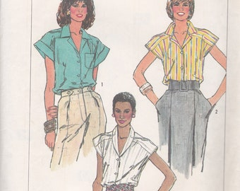 Simplicity 7921 Vintage pattern Womens Cap Sleeved Blouse in Variations  Size 10, 12, 14