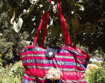 Red and Blue Southwestern Print Purse