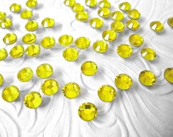 144 pcs., 720 pcs. or 7200 pcs./Citrine SS20 Hot Fix (Hotfix) Iron On, Glue On, Heat Transfer Crystal Rhinestones  5mm / 144 Pieces