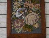 Victorian beaded Tapestry Walnut Frame
