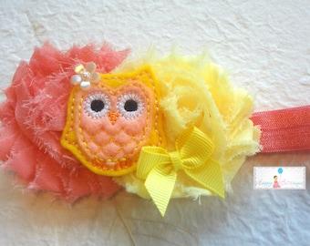 Baby Headband Peachy Coral Owl Girls Headband Headbands Owl Etsy