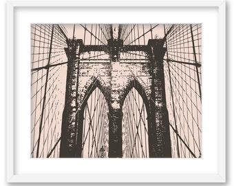 Brooklyn Bridge. NYC Wall Art decoration print 8x10. Free Shipping.