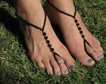Black and Gold Barefoot Sandals, Slave Anklet, foot thong, ankle bracelet with toe ring