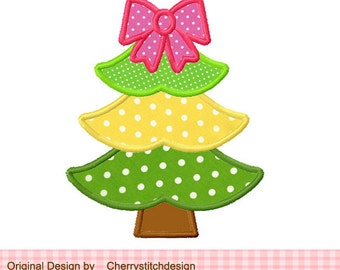 "Christmas Tree Machine Embroidery Applique - 4x4 5x5"""