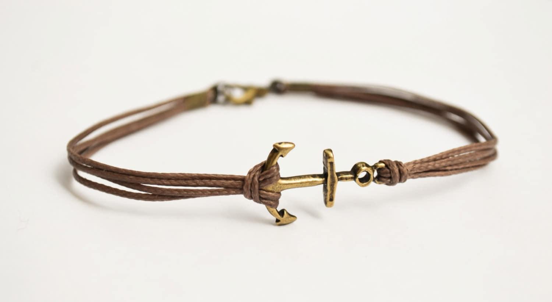 anchor cord bracelet s bracelet bronze anchor charm