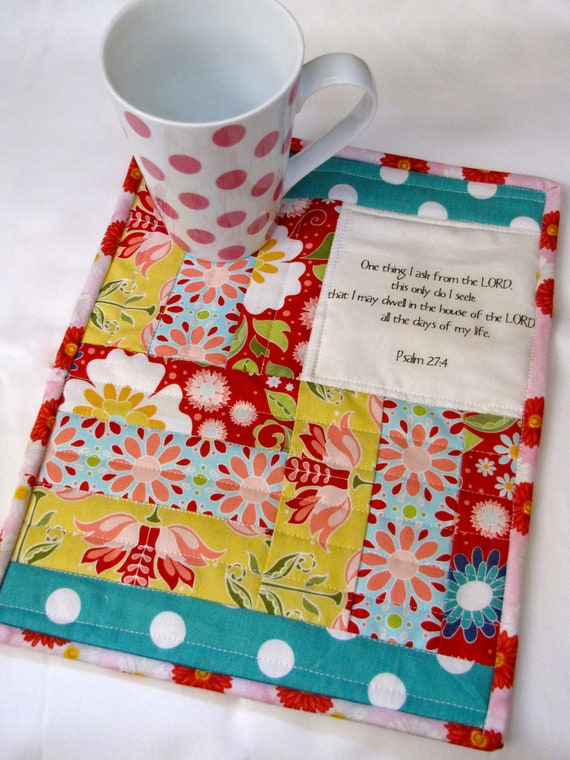 Psalm 27:4 scripture mini quilt, quilted mug rug, made to order