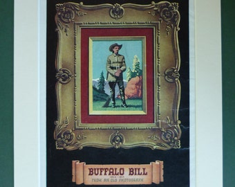 Vintage 1951 Buffalo Bill Matted Print - Wild West - Cowboys & Indians - Portrait - Pioneer - Adventure - Western - Rocky Mountains - Frame