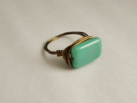 Seafoam blue-green and bronze wire wrapped fall ring - size 7