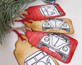 VW style Beetle / Bug and Camper Van Christmas gift tags (set of 4)