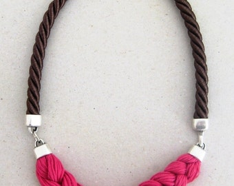 statement rope necklace in fuchsia pink and dark chocolate brown- braided rope necklace - yarn and metal necklace in hot pink and brown