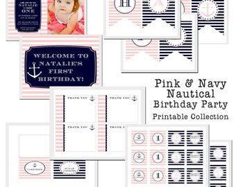 PRINTABLE Full Collection - Pink & Navy Nautical Party Collection - Dandelion Design Studio
