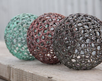 3 Small twisted wire copper ring balls, Copper sphere, Metal sculpture