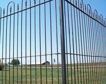 6' Tall Interlocking Solid Steel Fence Panels - Wrought Iron Yard Fence for Your Landscape