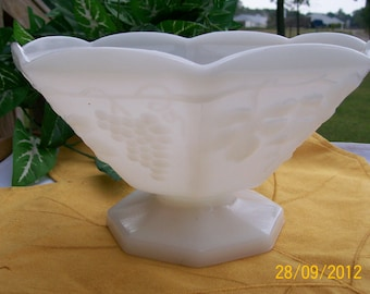 Vintage Anchor Hocking White Milk Glass Octagon Shaped Compote / Fruit Bowl / Candy Dish