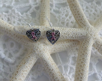 Tibet Silver Pink Ribbon 925 Silver Earrings Breast Cancer Awarness