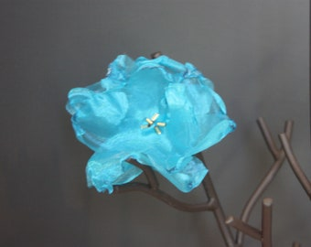 Pretty turquiose organza flower ponytail holder