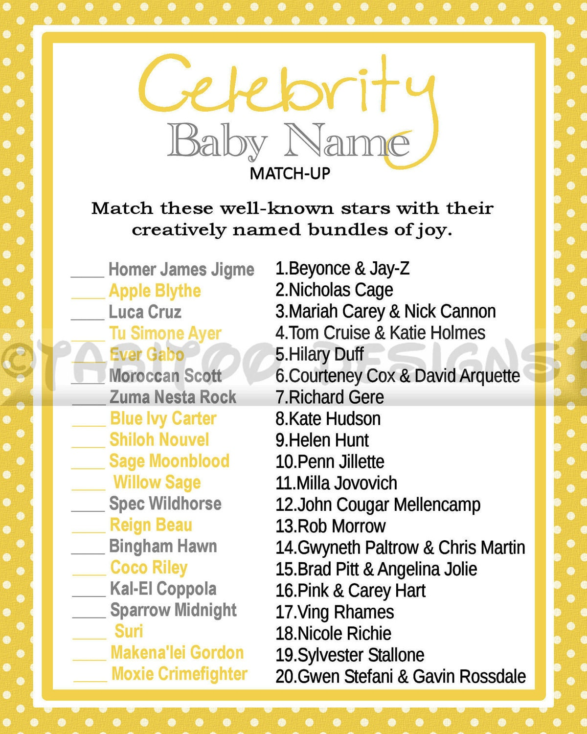 Match Baby's to Their Celebrity Parents Game - Showers of Fun