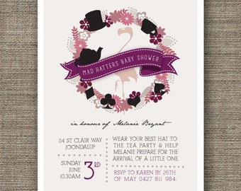 Mad Hatter Invitation for Baby Shower Tea Party - boy or girl - printable invite - Alice In Wonderland theme
