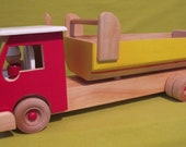 Wooden Handmade Dumpster Truck - Red Cab - Non-toxic Paint & Water Base Finish