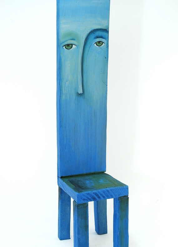 Little wooden chair with art paint - wall art with reclaimed wood in blue and red - dreamy and surreal