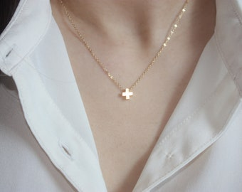 Tiny Cross Necklace, 14k GOLD FILLED CHAIN, Christmas Gift