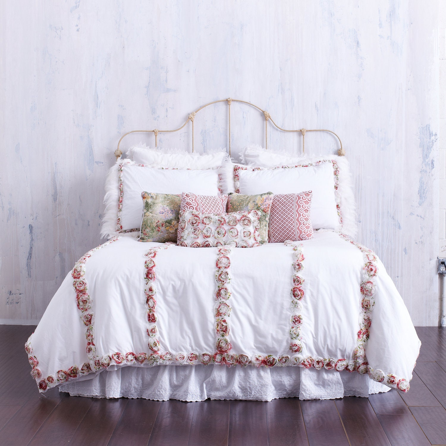 Rosette Bedding Set Queen Duvet Cover With Two By