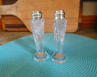 Cut Glass Salt & Pepper w Sterling tops