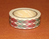 Washi Tape Roll Cute Argyle Red & Green Autumn Stationery Scrapbooking Sticker 15mm x 10m