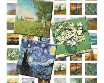 99 Cent Sale - Vincent Van Gogh Paintings - Digital Collage Sheet  - 1 inch (1 x 1)  - INSTANT DOWNLOAD