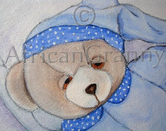 SHIPPING INCLUDED  Night Night Teddy Original Art Acrylic and Graphite Pencil on Canvas Nursery Decor for little Boy's room.