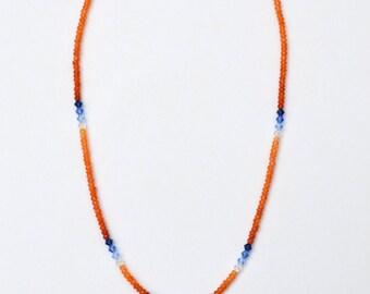 Carnelian Necklace with Teardrop Pendant featuring semi-precious stones and Swarovski crystals