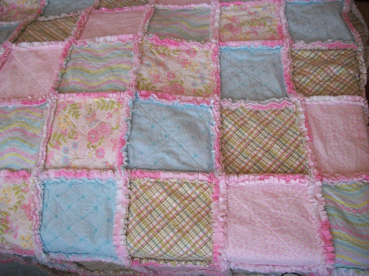 Rag Quilt Patterns For Twin Bed : Girls Twin Size Rag Raggy Quilt with Matching Sham 67x86