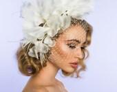 Couture Bridal hat, Bridal Fascinator, wedding veil, Ivory Silk headpiece, Veil, Birdcage veil