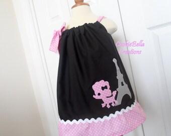 Paris Poodle & Eiffel Tower Pillowcase Dress Black and Pink Dot