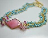 Pink Opal, Australian Opal chip, Pink Sapphire, Turquoise Bracelet