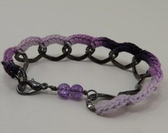 Ombre Purple and Black Chain Bracelet - READY TO SHIP - Handmade Purple Friendship Bracelet