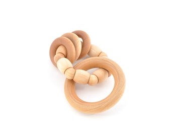 Baby Rattle Toy - Montessori Wood Teether - Natural Grasping Toy - Eco Friendly Wooden Rattle (F)