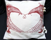 Red Bird Of Paradise On a beige Cotton Pillow Cover