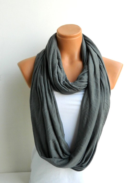 gray infinity scarf soft cotton fabric scarf loop