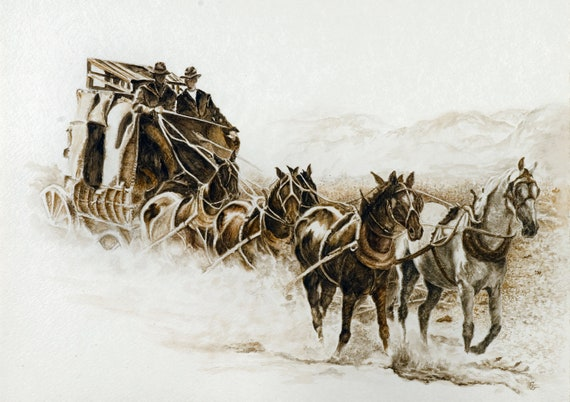 Stagecoach Oil Painting, large,wood framed,Western theme ...  |Large Western Stagecoach Art