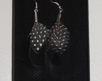 Black Feather Earrings Silver Plated Curled Hoops Black and White Spotted Polka Dot Handmade