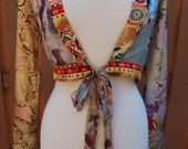 Hippie Boho Chic Floral Silk Blend Tie up Cropped Top Blouse Cover