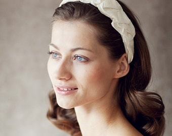 "Wedding Hair Accessory, Bridal Silk Headband- ""Chloe"""