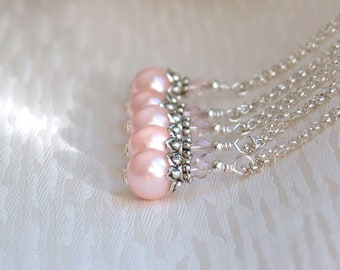 Set Of 3 Pink Necklaces, Bridesmaids Gift Jewelry, Bridesmaids Necklaces, Set Of 3 Light Pink Glass Pearls Necklaces
